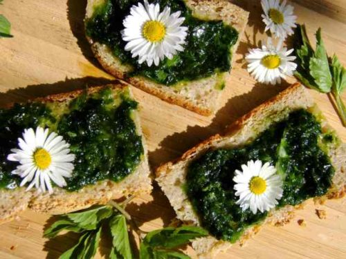 Hirse Quinoia Brot mit Pesto